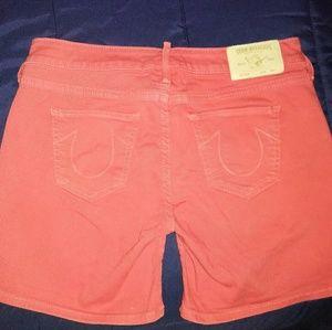 New True Religion 29 Shorts Cassie Red Denim Jeans